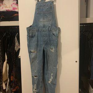 Zara straight leg denim jumpsuit overalls